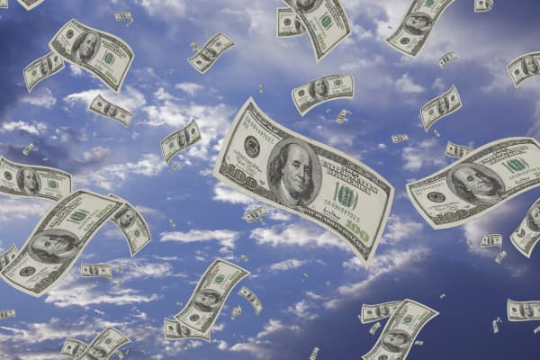 Hundred-dollar bills falling from sky