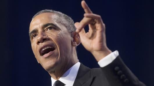 President Barack Obama speaks during the Congressional Hispanic Caucus Institute Awards, Oct. 2, 2014, in Washington.