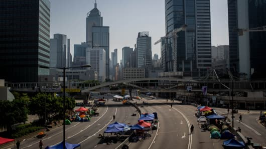 A general view of the protest site outside the Hong Kong's Government complex on October 7, 2014 in Hong Kong.