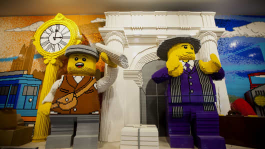 Lego sculptures are displayed before the opening of the new Lego store in New York, September 2014