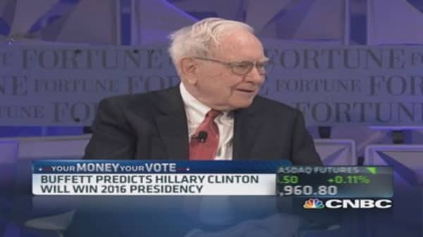 Buffett says Hillary Clinton will win 2016 presidency