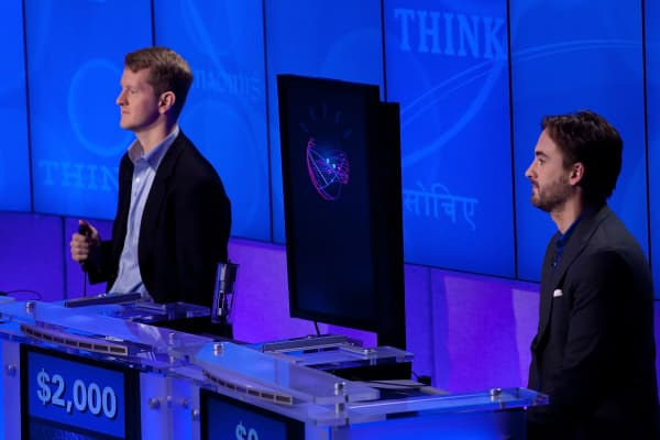 File photo: Ken Jennings and Brad Rutter competed against 'Watson' in the Man V. Machine 'Jeopardy!' competition at the IBM T.J. Watson Research Center in 2011.