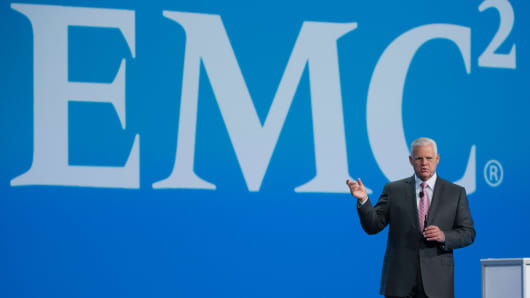 Joseph 'Joe' Tucci, chairman and chief executive officer of EMC Corp., speaks during the Oracle OpenWorld 2013 conference in San Francisco, California.