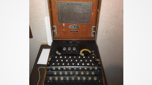 "The German ""Enigma"" coding machine used during World War II."