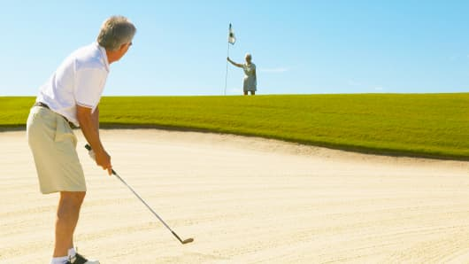 golfing, bunker sand trap, golfer stuck in sand, retirement, older people, golf
