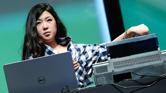 Mink 3D makeup printer inventor Grace Choi speaks at TechCrunch Disrupt NY 2014, May 5, 2014, in New York.