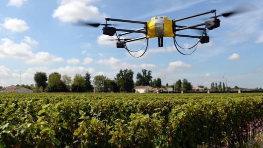 A drone flying over vineyards in Pessac, France