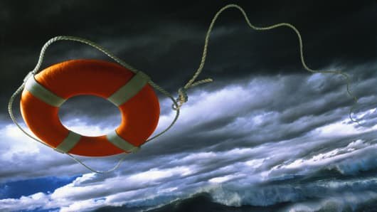 Life ring tossed out in rough seas
