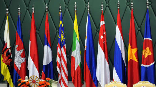 Flags of countries that make up the Association of Southeast Asian Nations