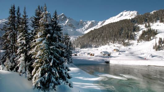 The ski resort of Courchevel, French Alps.