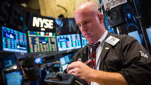 Trader on the floor of the New York Stock Exchange.