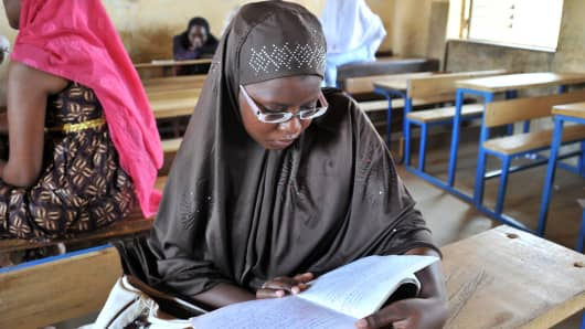 A young girl studying in a classroom in Gao, northeastern Mali.
