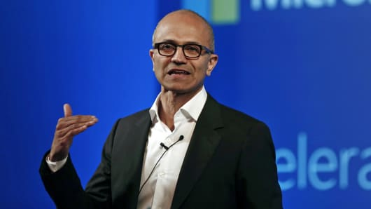 Microsoft CEO Satya Nadella addresses the media during an event in New Delhi, Sept. 30, 2014.