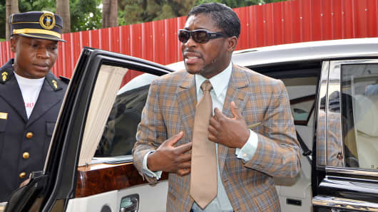 Teodorin Nguema Obiang, son of Equatorial Guinea's President Teodoro Obiang Nguema Mbasogo, arrives at Malabo's Cathedral to celebrate his birthday.