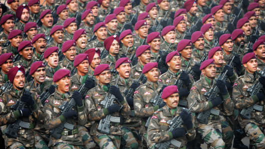 A parachute regiment of the Indian Army marches in formation during the Republic Day parade in New Delhi.