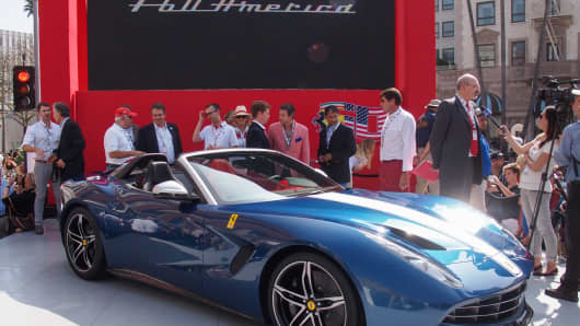 Ferrari unveils the new F60 America in Beverly Hills.