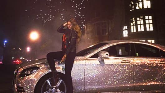 Daria Radionova and her encrusted Mercedes CLS.