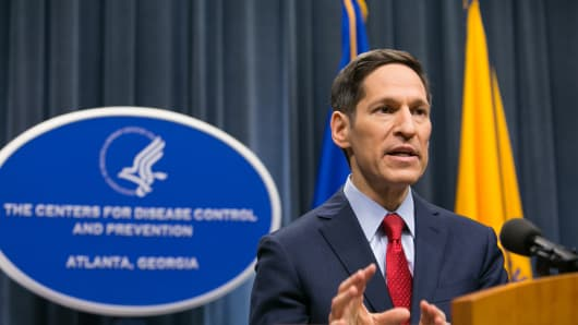 Center for Disease Control (CDC) head Dr. Thomas Frieden speaks duing a briefing on the Dallas Ebola response at the CDC Headquarters on October 13, 2014 in Atlanta, Georgia.