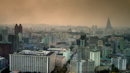 A skyline view of the capital city of North Korea, Pyongyang. 60 years after the Korean War, it is clear that not much has changed in North Korea.