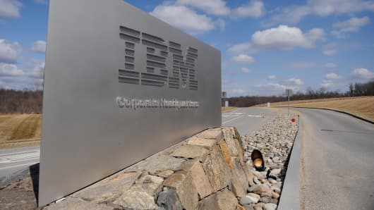 A sign marks the entrance to IBM Corporate Headquarters in Armonk, New York.