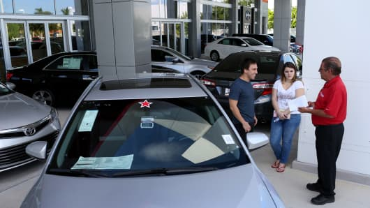 Shoppers at the Toyota of Deerfield dealership, Deerfield Beach, Fla.