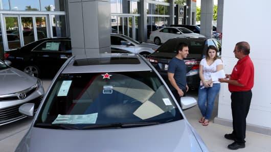 Shoppers at the Toyota of Deerfield dealership, Deerfield Beach, Fla.