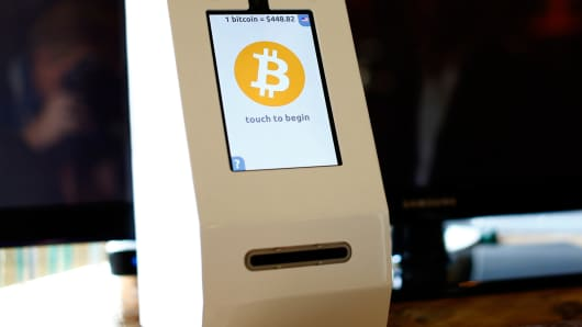 A Bitcoin ATM machine at a restaurant in San Diego, Calif.