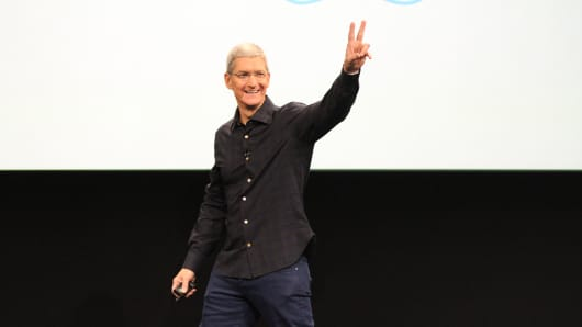 Tim Cook onstage at an Apple event.