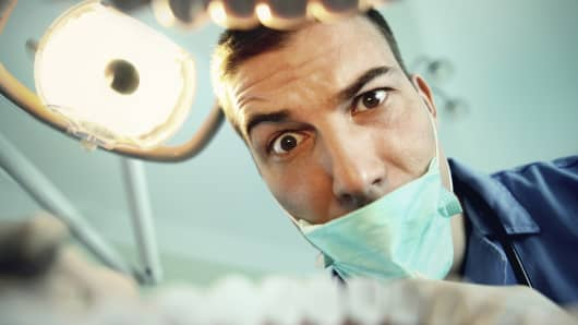dentist, healthcare, patient in dentist chair