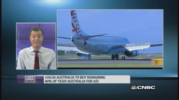 Virgin Australia pays 88 cents for Tigerair stake