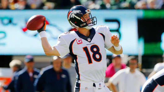 Peyton Manning of the Denver Broncos against the New York Jets on October 12, 2014.