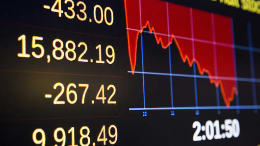 A board showing the day's trading activity stands above the floor of the New York Stock Exchange, Oct. 15, 2014.