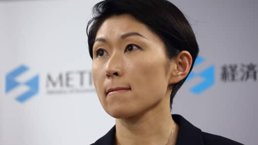 Yuko Obuchi, Japan's economy, trade and industry minister, attends a news conference in Tokyo, Japan, on Monday, Oct. 20, 2014. Obuchi resigned today over allegations that her support groups misused political funds,