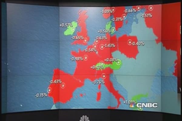 European shares close lower