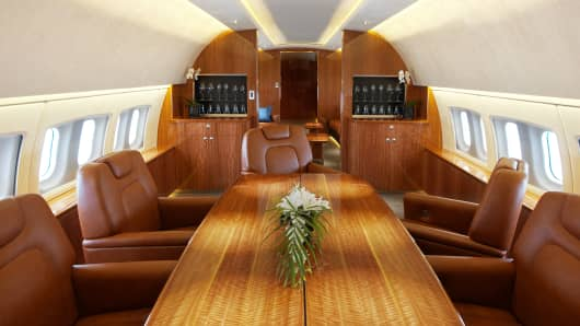 Interior of a Boeing Business Jet