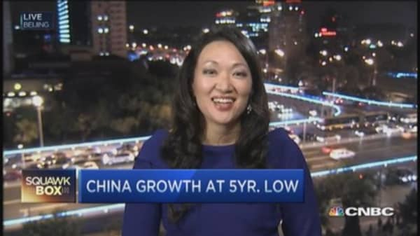 China growth falls to 5-year low