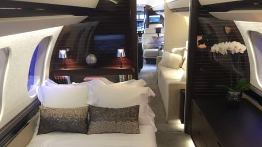 Bedroom suite onboard Bombardier's Global 7000 business jet.