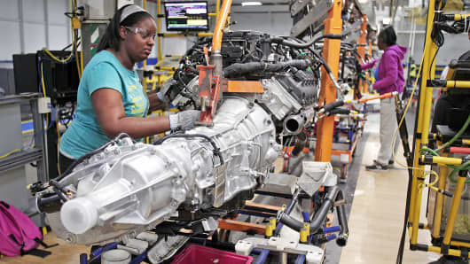 A transmission for a Chrysler Ram 1500 truck goes through the assembly line at the Warren Truck Assembly Plant in Warren, Mich.