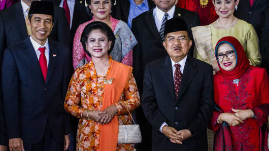 Indonesian President Joko Widodo and First Lady Iriana, along with Vice President Jusuf