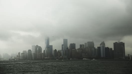 Clouds cover lower Manhattan, New York.