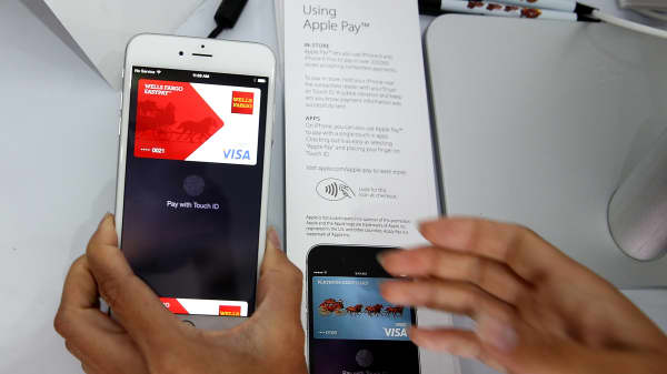 The new Apple Pay mobile payment system on the iPhone 6