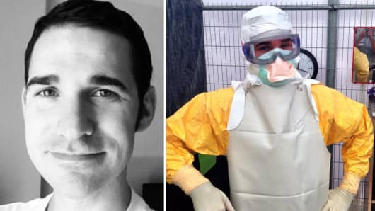 Dr. Craig Spencer (L), and wearing protective gear while treating ebola patients in West Africa (R), was taken to Bellevue Hospital with ebola symptoms for further testing.
