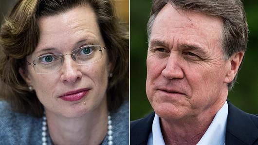 Georgia Democratic candidate Michelle Nunn and Republican candidate David Perdue for U.S. Senate.