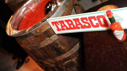 A bottle of Tabasco sauce is shown during an event in New Orleans.