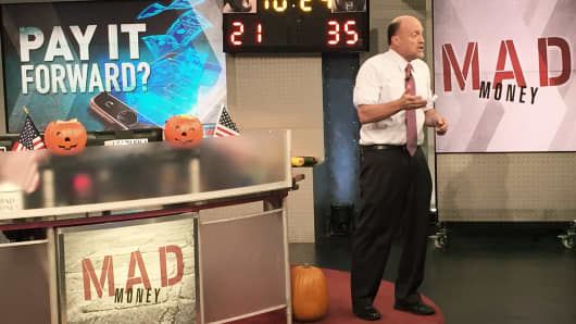 Jim Cramer on set of Mad Money
