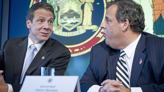 New Jersey Gov. Chris Christie, right, and New York Gov. Andrew Cuomo speak during a news conference about New York's first case of Ebola, Oct. 24, 2014, in New York.