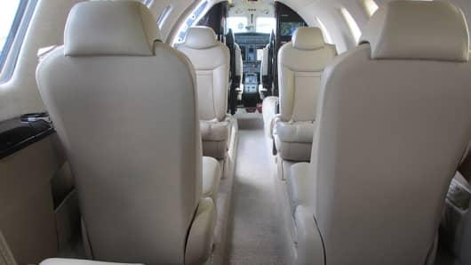 Cessna Citation CJ4 cabin interior.