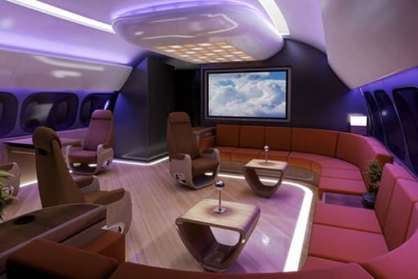 An interior onboard a Boeing Business Jet.