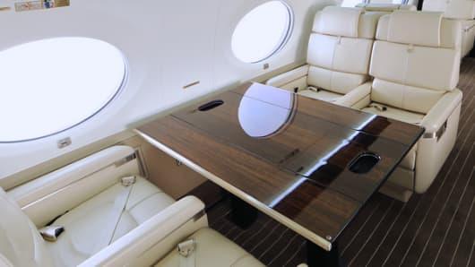 An interior onboard a Gulfstream 650 jet.