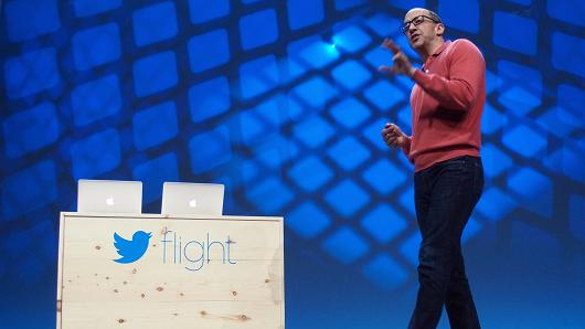 Dick Costolo on stage to launch Twitter Flight.